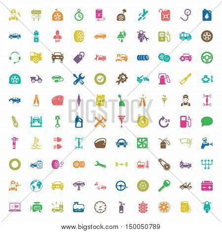 car repair 100  icons set for web