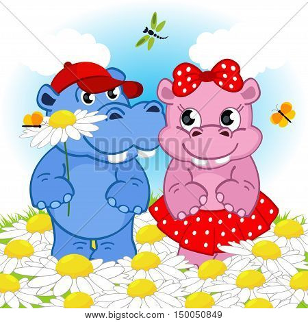 hippo boy gives flower girl - vector illustration, eps