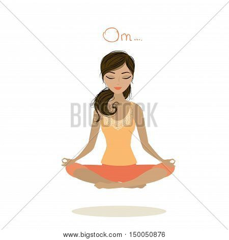 Woman meditating and relaxing in lotus pose vector illustration