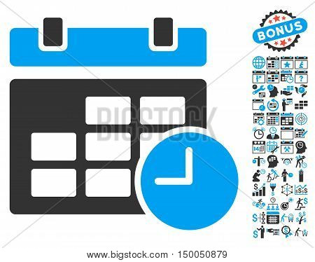 Date and Time pictograph with bonus calendar and time management pictogram. Vector illustration style is flat iconic bicolor symbols, blue and gray colors, white background.