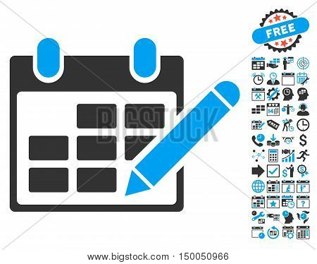 Edit Calendar Table icon with bonus calendar and time management pictures. Vector illustration style is flat iconic bicolor symbols, blue and gray colors, white background.