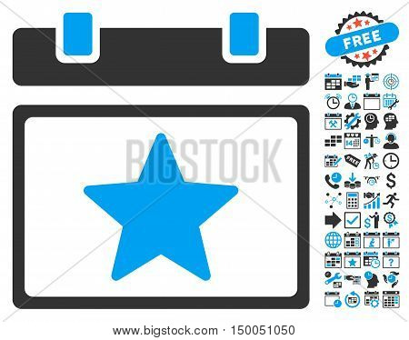 Favourites Calendar Page pictograph with bonus calendar and time management graphic icons. Vector illustration style is flat iconic bicolor symbols, blue and gray colors, white background.