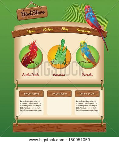 Nature template for bird store, vector background