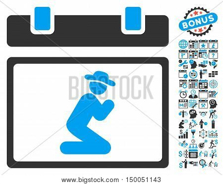 Gentleman Pray Calendar Page icon with bonus calendar and time management pictograph collection. Vector illustration style is flat iconic bicolor symbols, blue and gray colors, white background.