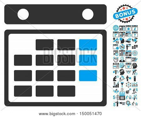 Month Calendar pictograph with bonus calendar and time management design elements. Vector illustration style is flat iconic bicolor symbols, blue and gray colors, white background.