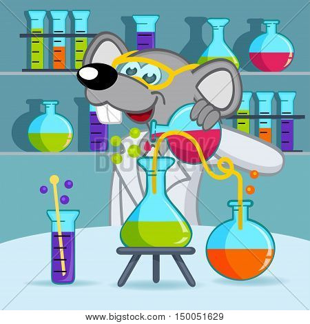 mouse scientist in lab - vector illustration, eps