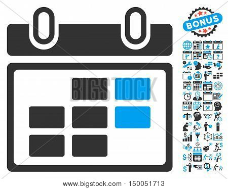 Month Calendar pictograph with bonus calendar and time management clip art. Vector illustration style is flat iconic bicolor symbols, blue and gray colors, white background.