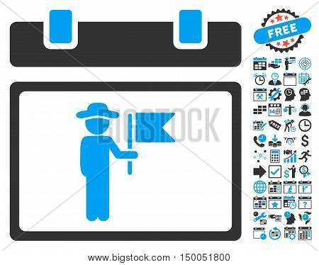 National Holiday Calendar Page pictograph with bonus calendar and time management graphic icons. Vector illustration style is flat iconic bicolor symbols, blue and gray colors, white background.