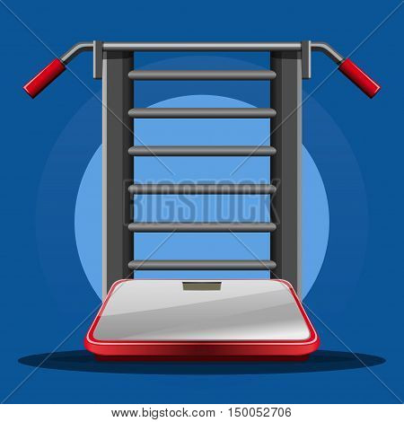 Swedish staircase (gymnastics ladder, gymnastics wall ) with horizontal bar and bathroom digital scale. Sports design. Vector  icon, illustration