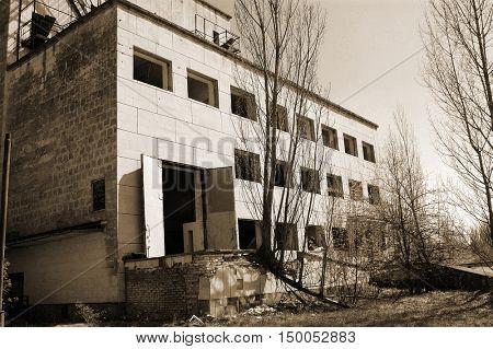 Chernobyl area. Lost city Pripyat. Hotel Polesie (Woodland). Modern ruins.25 April 2009. Ukraine. Kiev region.