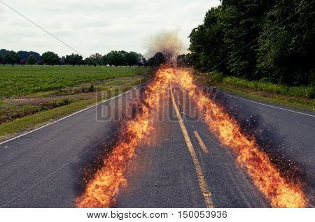On fire path of a fast car