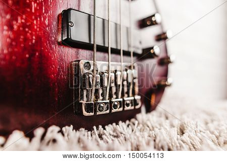 Rosewood Bass Electric Guitar Closeup