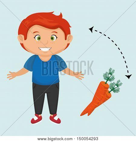boy cartoon carrot vegetable organic vector illustration eps 10