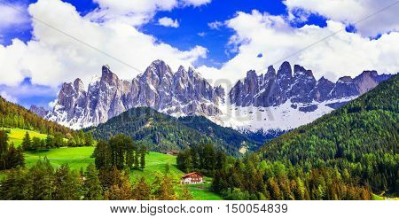 Breathtaking scenery of Dolomites mountains. beauty in nature. North of Italy