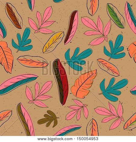 Seamless texture with pastel colors leaves. Vector illustration EPS8