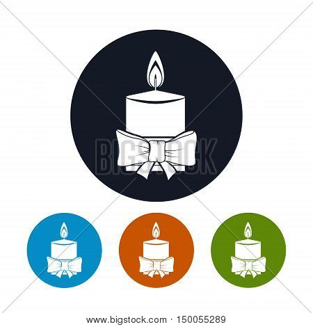 Icon Christmas Festive Candle ,Four Types of Colorful Round Icons Candle, Decorated with Bow, Icon Christmas Decorations, Vector Illustration