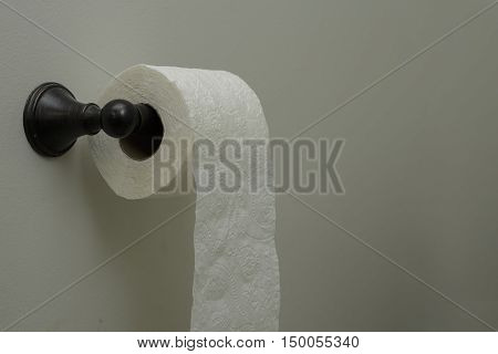 a roll of toilet paper in the bathroom