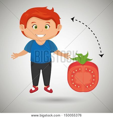 boy cartoon tomato vegetable health vector illustration eps 10
