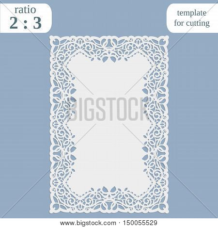 Greeting card with openwork border rectangular paper doily template for cutting wedding invitation decorative plate is laser cut frame with lace edge vector illustrations.