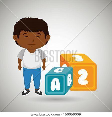 cartoon boy cube blue and yellow alphabet vector illustration eps 10