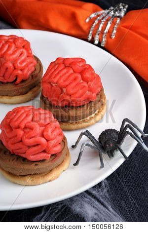 bloody brains out on the marzipan cookie sandwich on Halloween