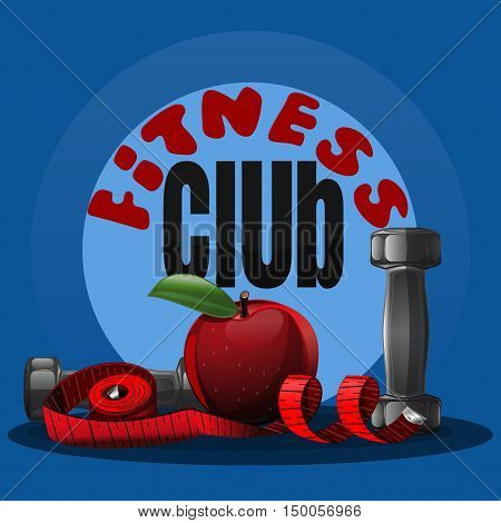 Fitness club logo. Fitness dumbbell logo for sports club. Vector illustration of a measuring tape, an apple and a dumbbell. Logo for the fitness club, gym, sports hall
