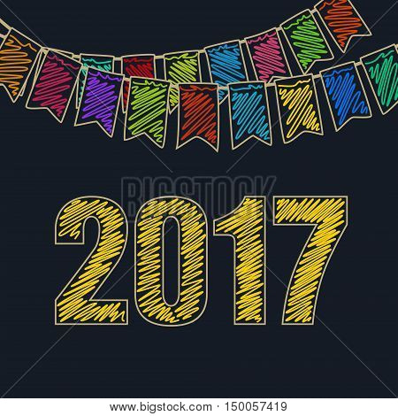 Merry Christmas and Happy New Year 2017 ,Christmas Festive Background ,Holiday Colorful Colored Bunting Flags and the Yellow Date of 2017, Drawing Crayons or Markers, Vector Illustration