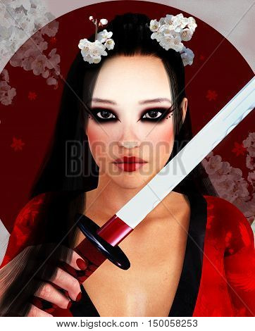 Portrait of a beautiful oriental girl with katana - 3D illustration