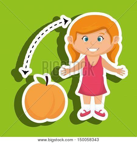 cartoon girl peach fruit vector illustration eps 10
