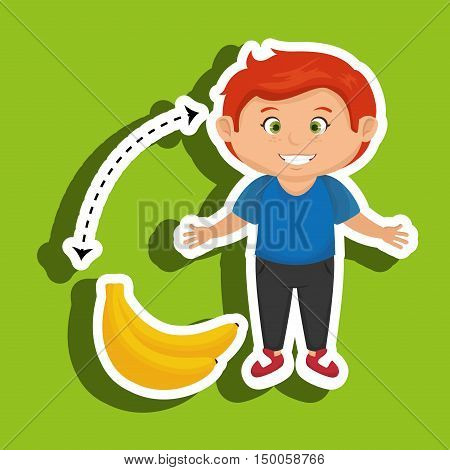 cartoon boy peach fruit vector illustration eps 10