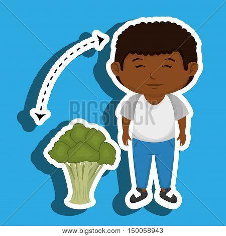boy cartoon broccoli vegetable vector illustration eps 10