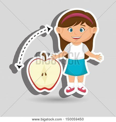 girl cartoon fruit sliced apple vector illustration eps10