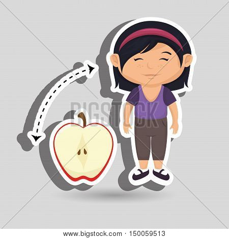 girl cartoon fruit sliced apple vector illustration eps10