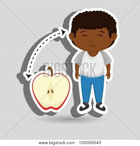 boy cartoon fruit sliced apple vector illustration eps10