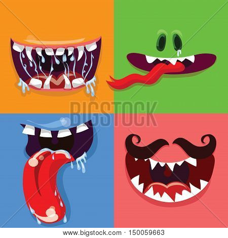 Cartoon cute monster mouths vector set with different emotional expressions, teeth and mouths