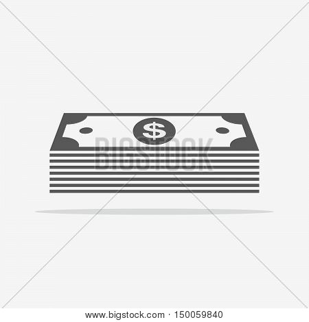 Pile of cash. Money icon in flat style. Dollar icon. Vector illustration.