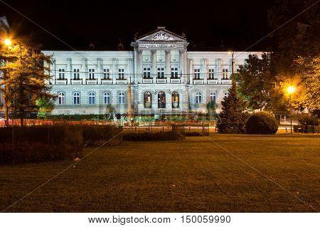PITESTI ROMANIA - SEPTEMBER 12 2012: The Arges county museum in Pitesti city Romania by night