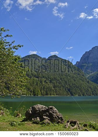 Lago del Predil on a mid-summer's day in Friuli Venezia Giulia north east Italy.