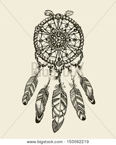 Hand-drawn dreamcatcher with feathers. Vintage Indian amulet with ethnic patterns