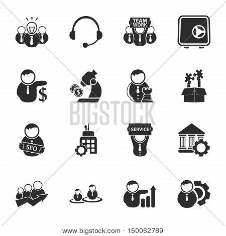 bussines, finance 16 icons universal set for web and mobile flat