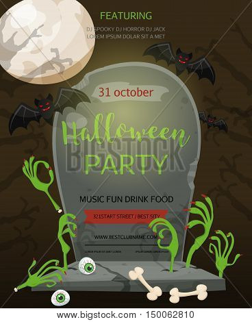 Halloween party baner. A gravestone with an inscription and the zombie hands a festive poster. Rertro cartoon style vector illustration