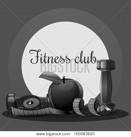 Fitness club, black and white logo. Fitness dumbbell logo for sports club. Vector illustration of a measuring tape, an apple and a dumbbell. Logo for the fitness club, gym, sports hall