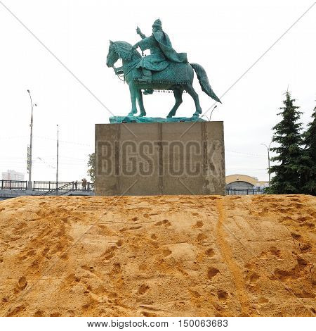 Orel Russia - October 01 2016: First in Russia Ivan the Terrible monument freshly installed on concrete pedestal in heap of sand square