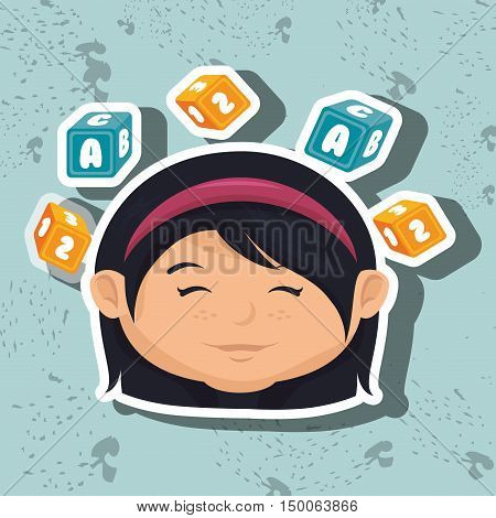 cartoon girl cube blue and yellow alphabet vector illustration eps 10