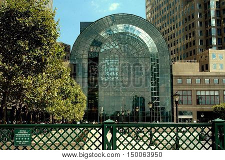 New York City - July 22 2006: The glass and steel Winter Garden atrium at Brookfield Place on Manhattan's lower west side