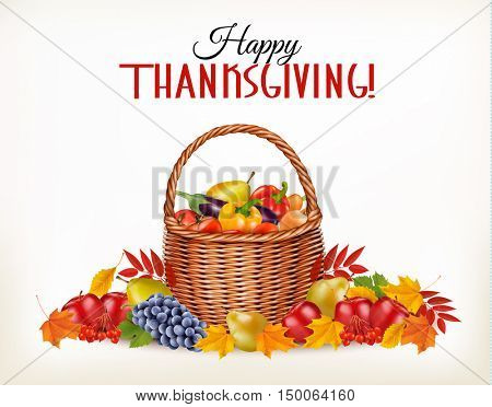 Happy Thanksgiving background with colorful autumn leaves and fruit. Vector