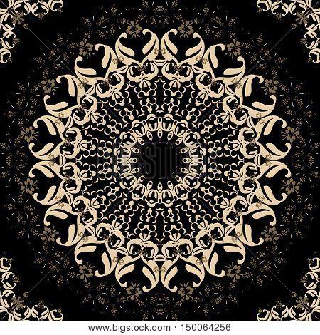 Folk ornamental textile seamless kaleidoscopic pattern print dark brown background
