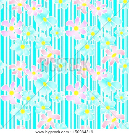 Seamless floral pattern texture on striped background texture