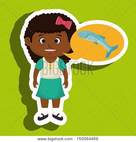 girl cartoon food fish fresh vector illustration eps 10