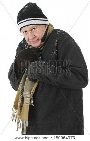 A bundled senior man  happy but cold.  On a white background.